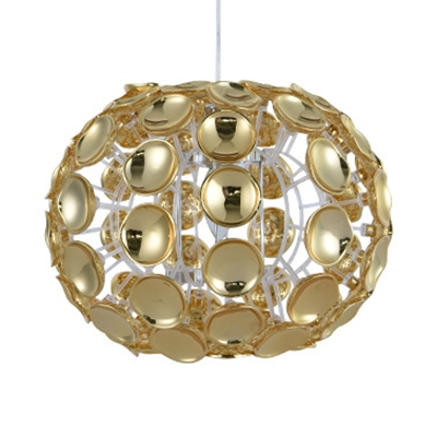 Dining Room Globe Chandelier Clear Crystal Contemporary Silver/Gold Pendant Lighting with Adjustable Cord