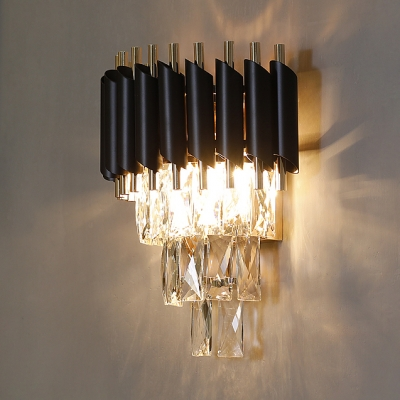 Dining Room Wall Light Fixture 1/2 Lights Clear Crystal and Metal