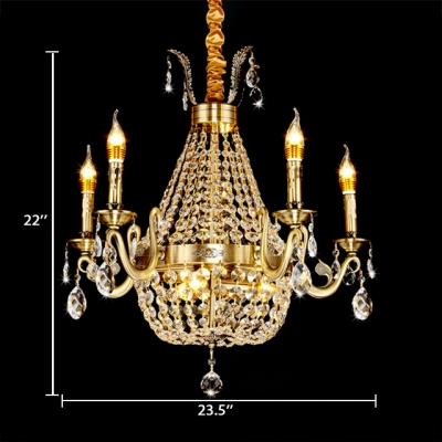 French Empire Chandelier with Candle 8/9/12 Lights Pendant Light with Clear Crystal Decoration in Aged Brass