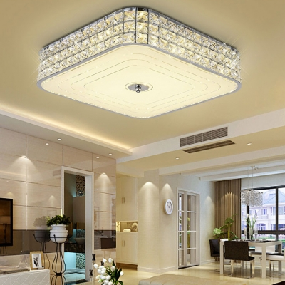 Living Room Square Flush Mount Lighting Clear Crystal Modern Style