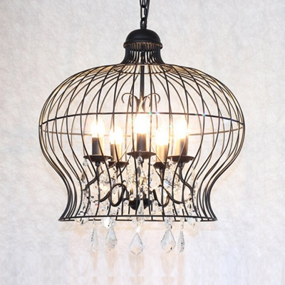 Metal Cage Chandelier with Clear Crystal Decoration 5 Lights Traditional Adjustable Light Fixture with 35.5