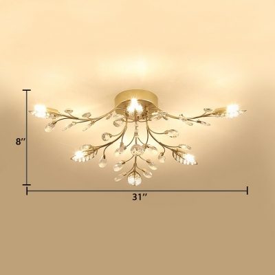 Metal Leaf Design Semi Flush Light Multi Lights Modern Style Ceiling Lighting in Gold with Clear Crystal