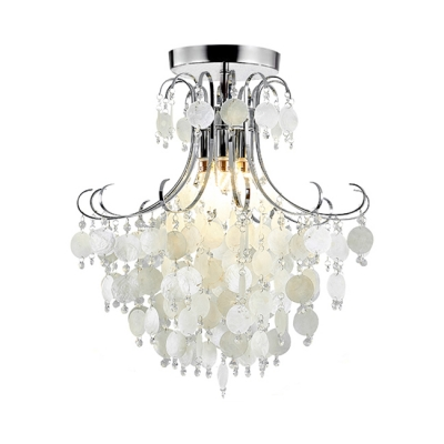 Shell Bedroom Flush Mount Contemporary Ceiling Light in Chrome with Clear Crystal Beads