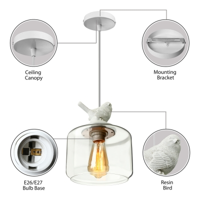 Soft And Romantic White Resin Bird And Hand-Blown Clear Glass Shaded Designer Light