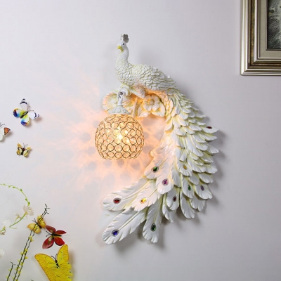 1 Light Peacock Sconce Light Vintage Clear Crystal Wall Light in White/Yellow/Green