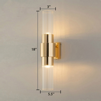 2/4 Lights Cylindrical Wall Light with Clear Crystal Modern Metal Wall Sconce in Gold