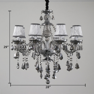 Metal Candle Chandelier 8 Lights Height Adjustable Antique Chandelier Light in Smoke Grey