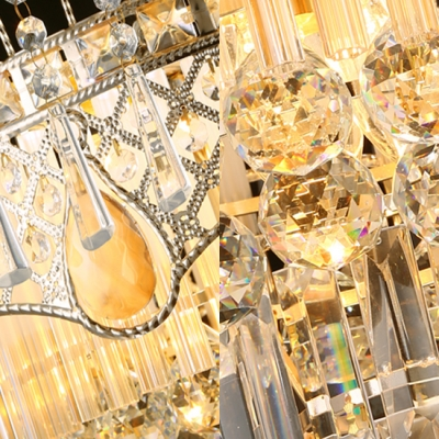 Dining Room Drum Chandelier Clear Crystal 3/5 Lights Art Deco Brass Hanging Chandelier