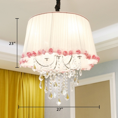 Traditional Tapered Pendant Lamp 4 Lights Fabric Chandelier with Clear Crystal in White and Pink
