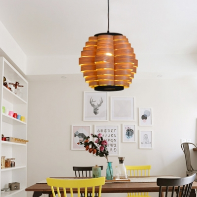 Wood Drum Shade Hanging Light in Asian Style 1 Light Pendant Lamp in Brown for Restaurant