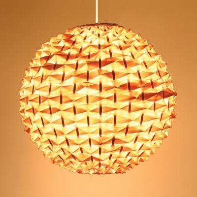Beige Globe Ceiling Pendant Pastoral Woven 1 Light Hanging Lamp for Hallway Dining Room