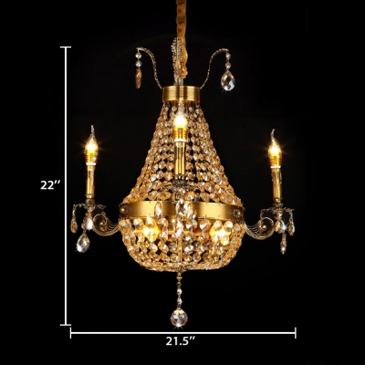 Amber Crystal Empire Chandelier with Candle 6/9/12 Lights Vintage Pendant Light for Living Room