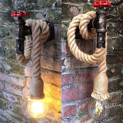 Antique Brass Wall Sconce with Open Bulb Single Light Metal and Rope Hanging Light