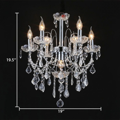Chrome/Brass Candle Chandelier with 12