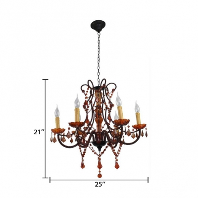 Clear Crystal Candle Chandelier 6 Lights Vintage Height Adjustable Pendant Lights with 18