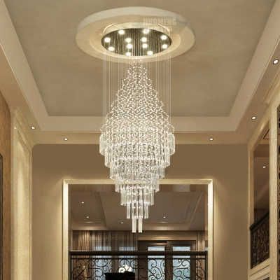Clear Crystal Round Canopy Ceiling Light 4/6/7 Lights Modern Hanging Chandelier in Polished Chrome