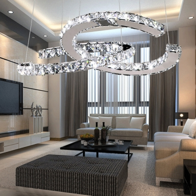 Contemporary Silver Chandelier with Round and Clear Crystal 2 Lights Metal Hanging Pendant