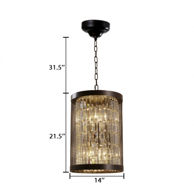 Cylinder Pendant Lighting with Clear Crystal Prism Hallway 6 Bulbs Modern Lighting in Black
