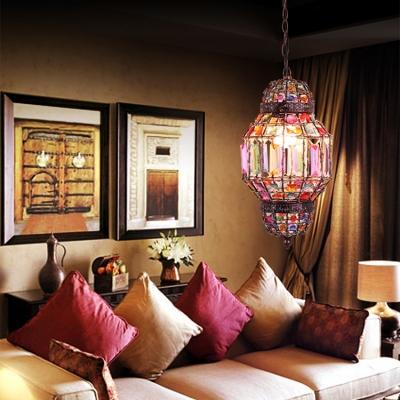 Lantern Bedroom Hanging Lamp Metal Single Light Vintage Pendant