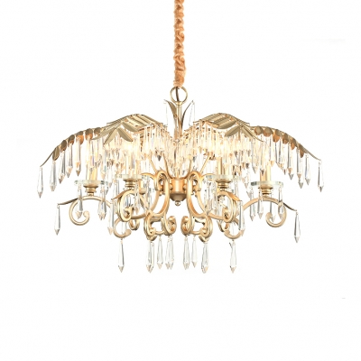 Metal Chandelier with Clear Crystal 3/6/8 Lights Contemporary Height Adjustable Light Fixture in Gold