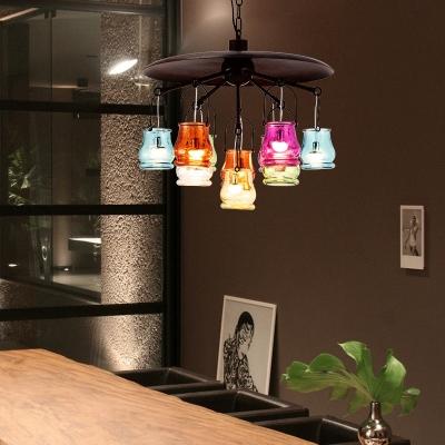 Rust/Gold/Black Disc Chandelier Light Vintage Metal Hanging Pendant for Dining Room