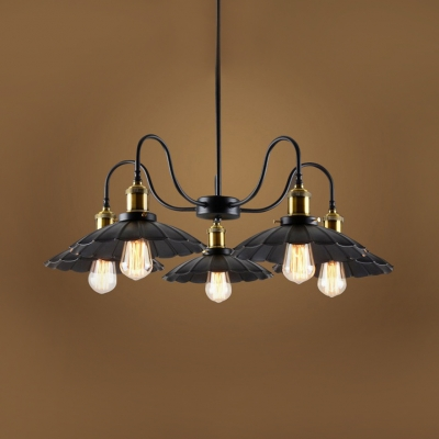 Rustic Scalloped Chandelier 5 Lights Metal Pendant Light in Black for Dining Room, HL512675