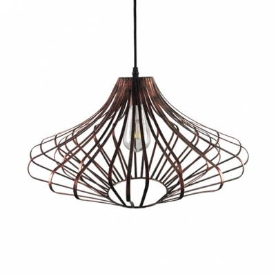 Single Light Tapered Pendant Light with Adjustable Cord Antique Metal Hanging Light Fixture in Gold/Rust