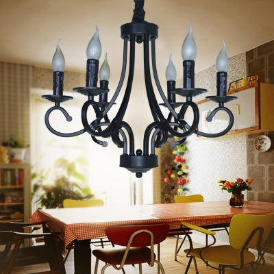 Vintage Black Hanging Chandelier with Candle and Chain 6/8 Lights Metal Ceiling Pendant
