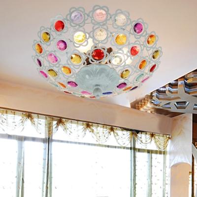 White Bowl Ceiling Light 1 Light Vintage Colorful Crystal Semi Flush Mount Light for Living Room