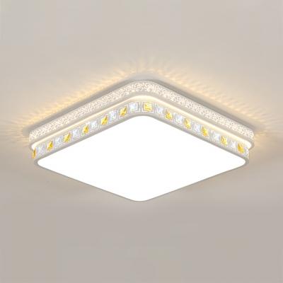 White Square Led Flush Mount Light Acrylic Modern Ceiling Lamp With