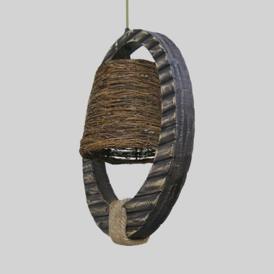 Woven Bucket Ceiling Pendant One Light Height Adjustable Rustic Pendant Lighting with 39