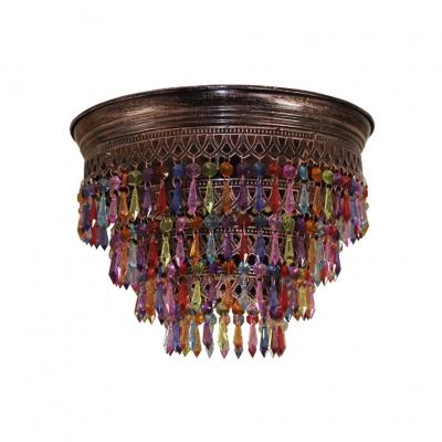 1 Light Drum Chandelier Vintage Metal and Colorful Crystal Pendant Light for Living Room