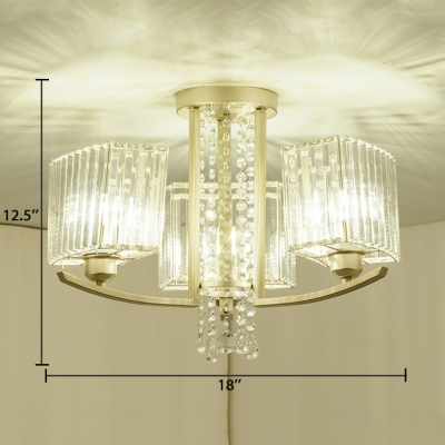 3/6/8/10 Lights Rectangle Semi-flush Mount Contemporary Metal Ceiling Lamp with Clear Crystal in Gold