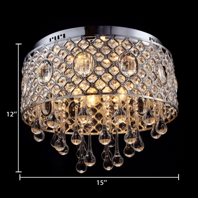 4-Light Clear Crystal Flush Mount Antique Style Ceiling Lighting in Chrome, 12