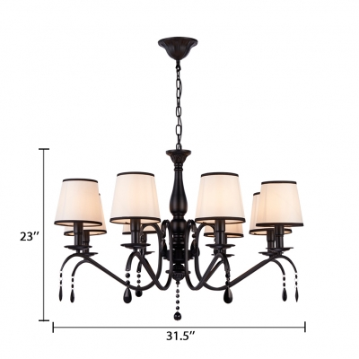 8 Lights Coolie Pendant Lighting with Fabric Shade Traditional Chandelier Light in Black