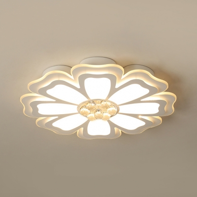 Acrylic Bloom Ceiling Fixture Contemporary LED Flush Mount Lighting with Crystal in White