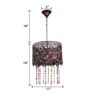 Antique Drum Hanging Lamp with Multi Color Crystal Single Light Metal Pendant Light in Copper/Grey