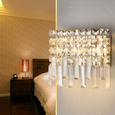 Antique Style Rectangle Sconce Light Clear Crystal 1/2-Light Wall Lamp for Bathroom
