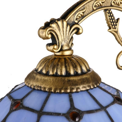 Baroque Blue Stained Glass Tiffany Sconce in Aged Brass with Pull Chain for Restaurant Stairs Bedside