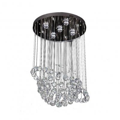 Chrome Sphere Ceiling Lighting 3/5 Lights Modern Clear Crystal Chandelier for Bedroom