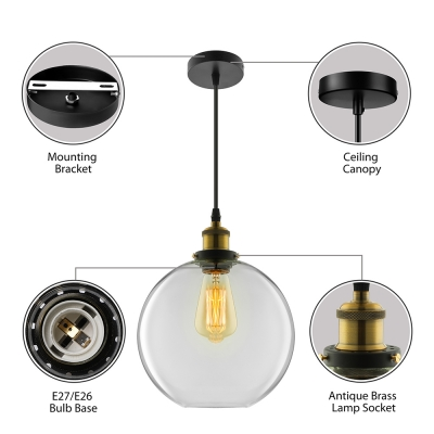 Clear Glass Globe Mini Pendant Light in Antique Brass for Kitchen Island Foyer Porch