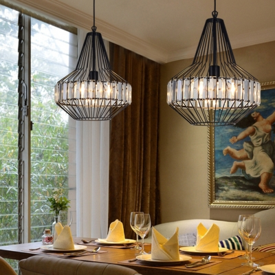 Dining Room Cage Pendant Lighting with Clear Crystal Decoration Vintage Black Chandelier with Adjustable Cord
