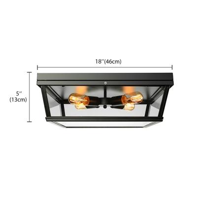 Four Light Black LED Flush Mount Ceiling Light with Glass Shade