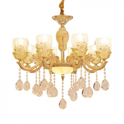 Gold Candle Sconce Light 6/8 Lights Traditional Clear Crystal Wall Lamp for Dining Room