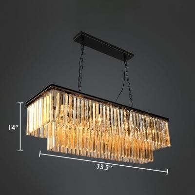 Grey/Amber Crystal Hanging Lights with Rectangle Shape 6/8 Lights Vintage Chandelier for Dining Table