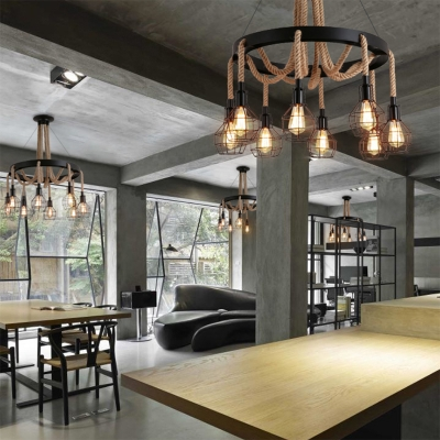 Matte Black 6 Light Wired Chandelier with Hemp Rope Industrial Halo Chandelier for Living Room Restaurant