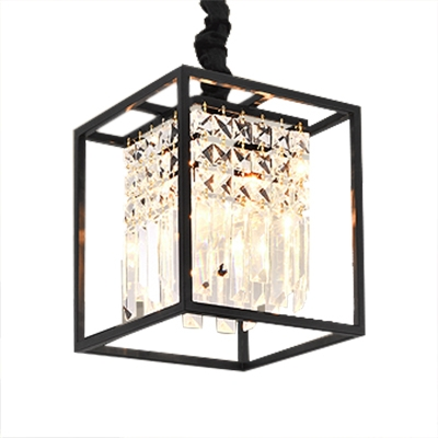Modern Black Gold Chandelier With Square 2 Lights Height Adjule