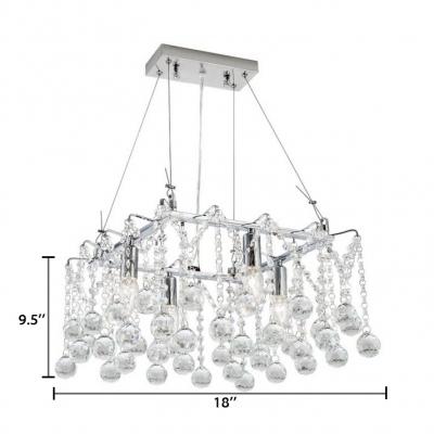 Modern Ring/Square Chandelier 4/5/6 Lights Metal Hanging Light in Chrome for Living Room