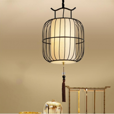 Rattan Lantern Hanging Light with Tassel and Adjustable Hanging Cord Asian Pendant Light