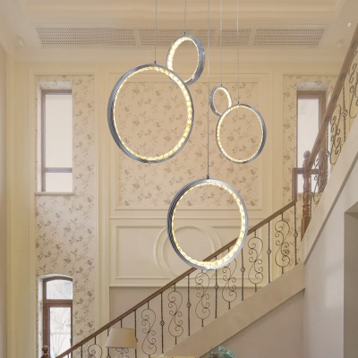 Ring Dining Room Ceiling Fixture Metal 3 Lights Modern Pendant Light with Clear Crystal in Chrome